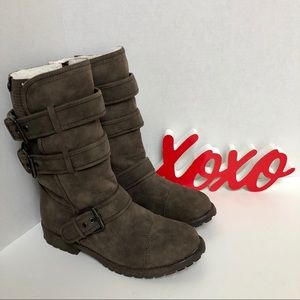 Roxy-distressed faux leather fleece lined boots.